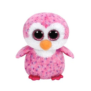 Pink beanie boo penguin named Glider.